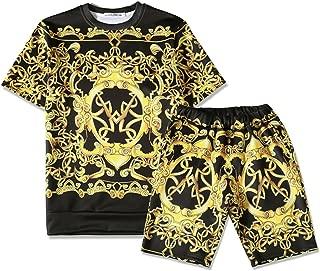 Mens Short Sleeve Baroque Print T-Shirt Shorts Sets