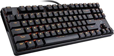 DAREU Orange LED Backlit Mechanical Gaming Keyboard Small Compact 87 Keys Metal Construction Mechanical Computer Keyboard USB Wired with Brown Switches for Windows PC Gamers, [DK100]