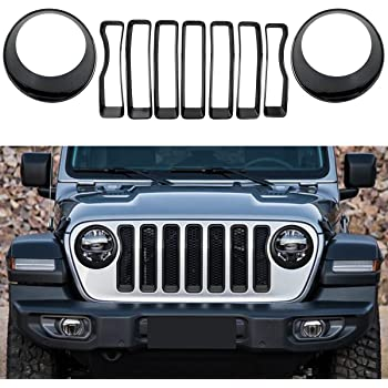 Silver Front Grill Inserts /& Headlight Covers Trim for Jeep Wrangler JL Sport//Sport S 2018 2019