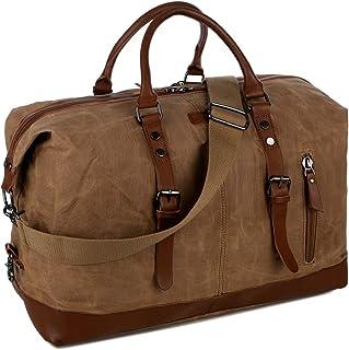 Baosha HB-14 Gewachstes Canvas Reisetaschen, Großräumige Handtasche Handgepäck Schultertasch Segeltuch Herren Weekender Sporttasche Reisetasche für Reise am Wochenend Urlaub Braun