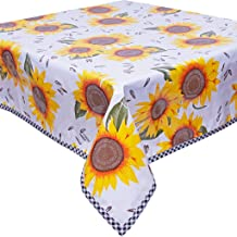 Sunflowers on White with Black Gingham Trim Oilcloth Tablecloth You Pick The Size