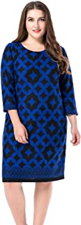 Chicwe Women's Plus Size Print Shift Dress Cashmere Touch Size 20-30