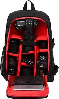 """Mochila para Cámaras Réflex y Accesorios con Acolchada a Prueba de Choques y Ordenador Portátil 15,6"""" Mochila Viaje Impermeable para Nikon Canon Sony con Cubierta de Lluvia (Rojo)"""