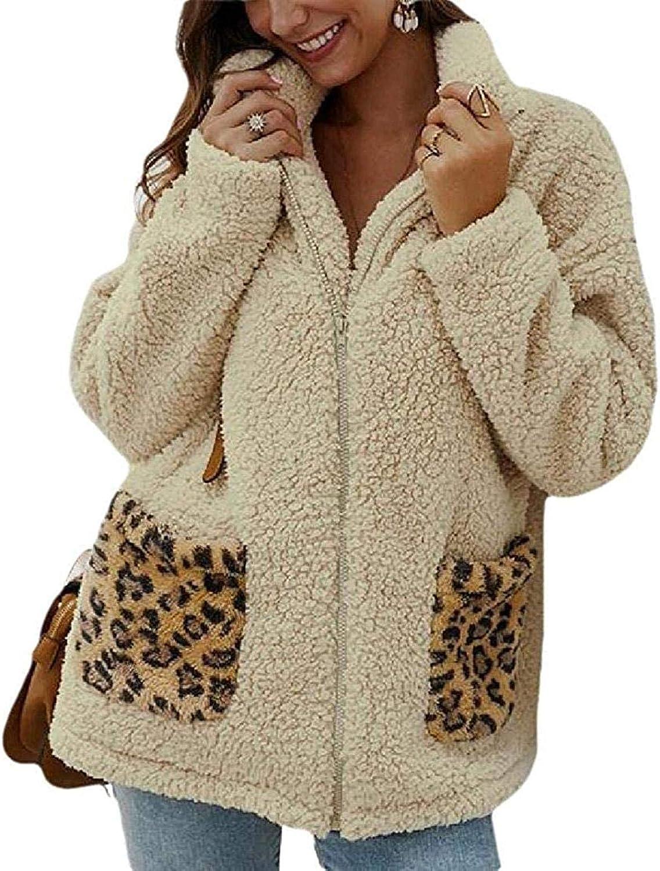 Women Lapel Long Sleeve Faux Shearling Coat Winter Boyfriend Faux Fur Coat