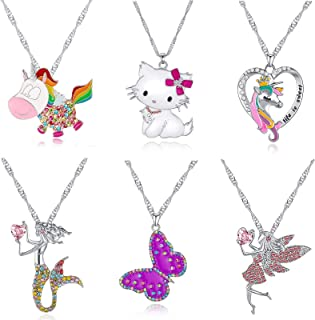 6 Pcs Cute Necklaces for Girls Kids Birthday Gift Pack-Cat Pendant Necklace for Little Girls-Fairy Necklace for Teens Girl...
