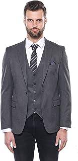 Wessi - Men's Blazers Slim Fit Blazers - All - Grey Plain Blazer and Vest Set   Wessi - Gri - 48