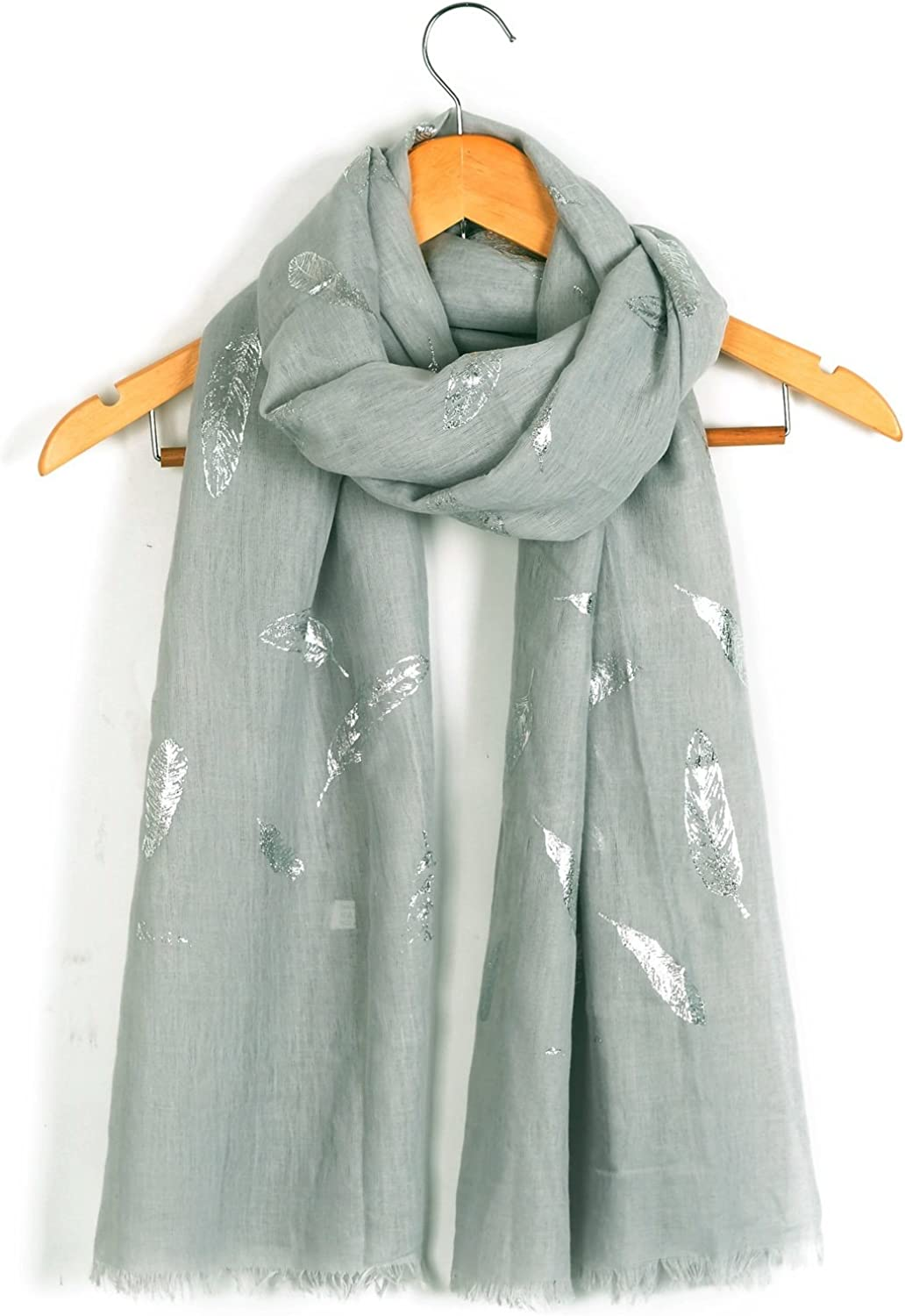 White Feather Print Scarf Glitter Silver Gold Navy Wrap Shaw Scarves Feathers