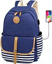 FLYMEI Lightweight Canvas Backpack Cute Bookbag Water Resistant Backpack with USB Charging Port, Casual Daypack Travel Outdoor Backpack