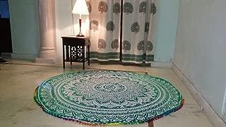 Indian Mandala Round Roundie Beach Throw Tapestry Hippy Boho Gypsy Cotton Tablecloth Beach Towel (Green)