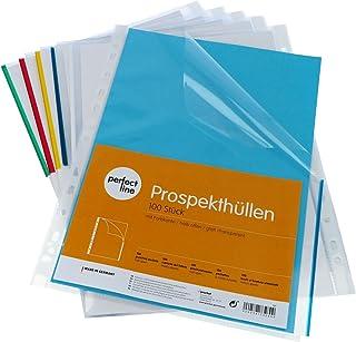 perfect line 100pochettes plastiques coin A4, avec bord coloré, pochettes cristal, transparentes, film plastique ultra-ré...
