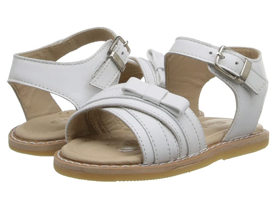 Elephantito Lili Crossed Sandal w/Bow (Toddler) (White) Girls Shoes