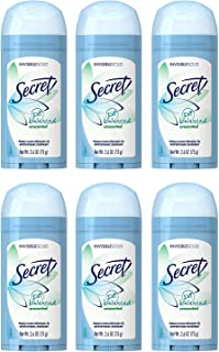 Secret Antiperspirant and Deodorant for Women, Original Unscented, Invisible Solid, pH Balanced, 2.6 Oz (Pack of 6)