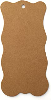 "LWR CRAFTS 100 Hang Tags Waved Rectangle with Jute Twines 100ft (4"" x 2"", Kraft)"