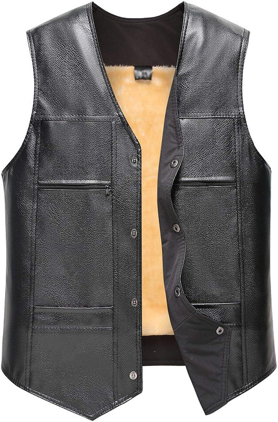 Flygo Men's Classic PU Leather Vest Fleece Sherpa Lined Waistcoat Sleeveless Button Down V Neck Jacket