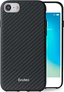 Evutec Compatible with iPhone 6/6s/7/8 Karbon Unique Hard Smooth heavy-duty Phone Case Cover Real Aramid Fiber Thin Slim 1.6 mm Lightweight Protective (Black) & Free Vent Mount