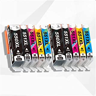 CMDZSW PGI550 CLI551 per Canon 10 Cartucce d'inchiostro XL PGI 550 CLI 551 per Pixma IP7250 MG5450 MG5550 MG5650 MG5655 MG...
