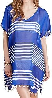Women's Beach Cover up Stripe Print Tassel Swimsuit Cover Up Dress