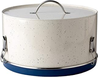 Christopher Kimball's Milk Street Dessert Carrier Metal Cake Plate, Speckled Cream and Navy Blue Food Safe Countertop Storage Container, 11 Inch Diameter