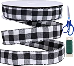 """Winlyn 50 Yards Black and White Buffalo Check Plaid Wired Ribbon Gingham Ribbon 1.5"""" Wide for Christmas Tree Wreath Gift W..."""