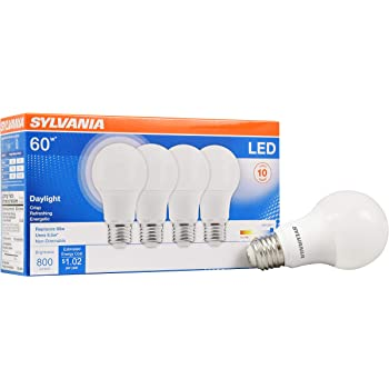 SYLVANIA General Lighting 79284 Sylvania Non-Dimmable Semi-Directional Led Lamp, 8.5 W, 120 V, A19, Medium, 11000 Hr, 4 Pack, Bright White, 4 Count