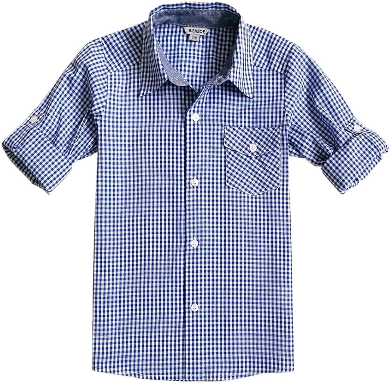 Bienzoe Boy Elegant 's Cotton Plaid Roll Down Up Button Sports Miami Mall Sleeve Sh