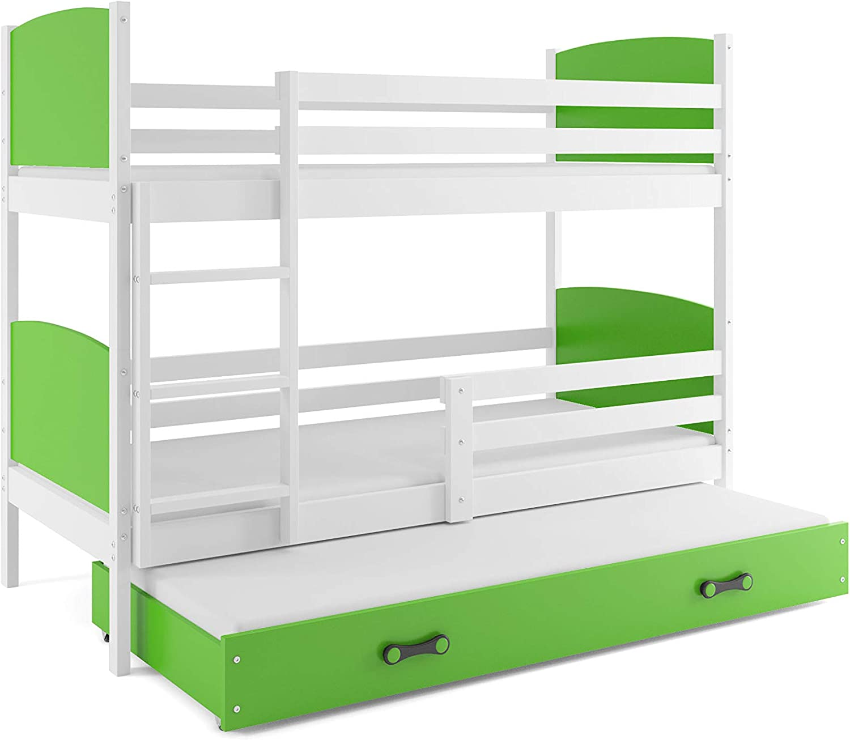 Interbeds Etagenbett Tami 3 (für DREI Kinder) 190x90cm Farbe  Weiβ + 2. Farbe zur Wahl; mit Lattenroste und Matratzen (grün)