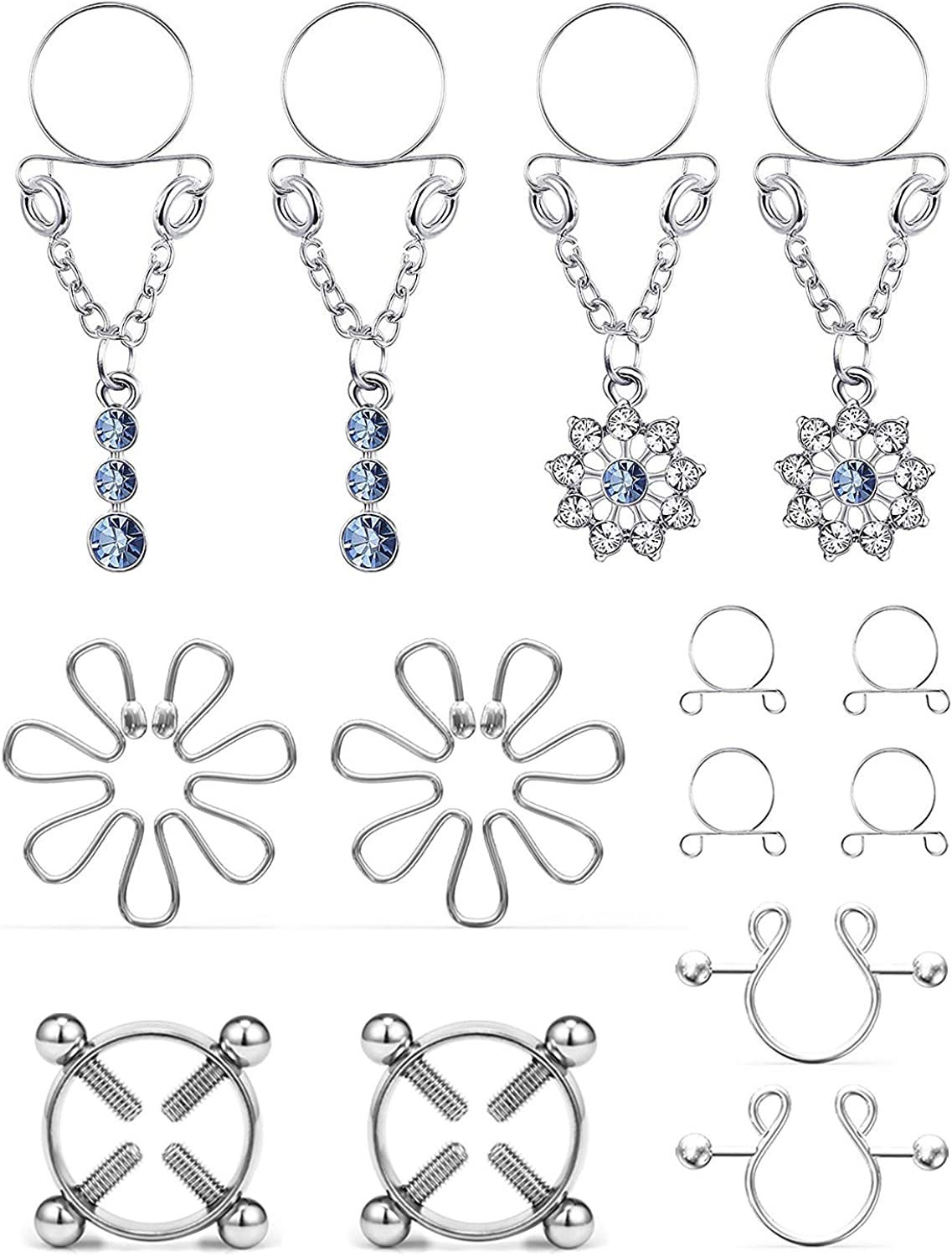 Cisyozi 5Pairs Stainless Steel Fake Nipple Rings for Women Non-Piercing Dangle Nipplerings Faux Body Piercing Jewelry