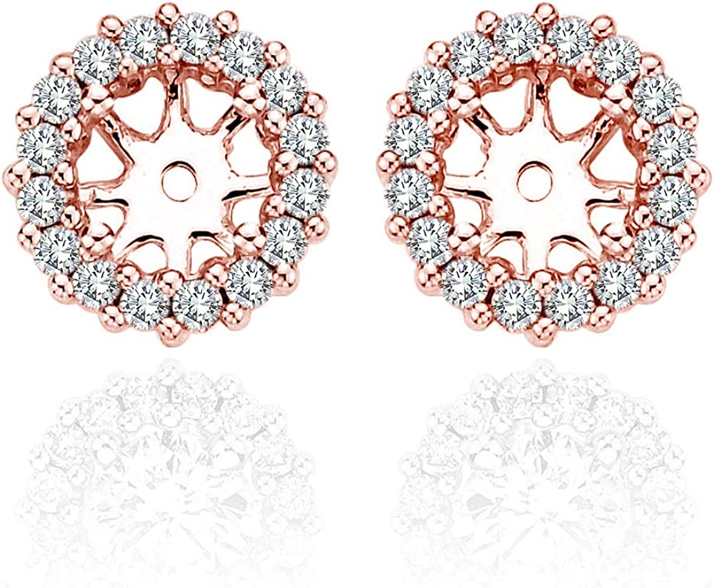 0.48 Carat White Diamond Earrings Jackets For 5MM(1.00 Carat Total Weight) 14K Rose Gold Halo Stud Solitaire