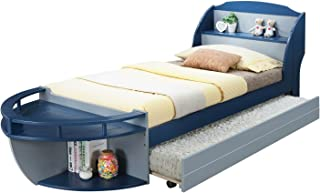 """Major-Q 9030620t + 9030623 38"""" H Boat Shape Nautical Style Youth Bed with Storage Headboard and Twin Size Trundle"""
