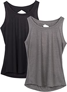 Yoga Tops Activewear Workout Clothes Open Back Fitness Racerback Tank Tops for Women(Pack of 2)