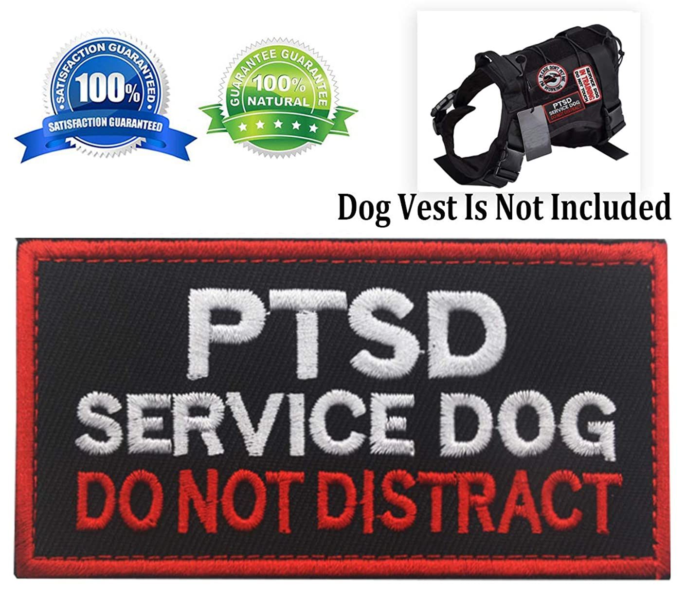 Service Dog Patch PTSD Do Not Distract Patches Vests/Harnesses Applique Embroidered Fastener Hook & Loop Emblem(PTSD Service Dog-Black-3)