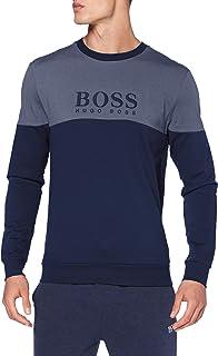 BOSS Mens Tracksuit Sweatshirt Piqué Loungewear Sweatshirt with Metallic Details