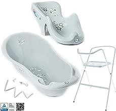 Schlaue Eule GRAU Anti-rutsch ab 0 Monate mit eingebautem Thermometer GESCHENK f/ür Neugeborene Tega Baby /® SET 5-teilig Badewanne Badesitz f/ür Baby