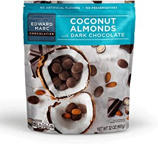 Edward Marc Chocolatier Coconut Almonds Dark Chocolate 32 oz. (1 bag of 32 oz.)