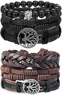 LOLIAS 6 Pcs Woven Leather Bracelet for Men Women Cool Leather Wrist Cuff Bracelets Adjustable