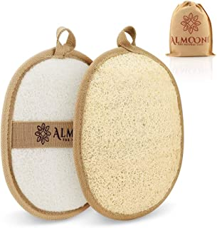 Premium Exfoliating Loofah Pad Body Scrubber, Made of Natural Egyptian Shower Loufa Sponge and Soft Cotton Materials (2 Pack)