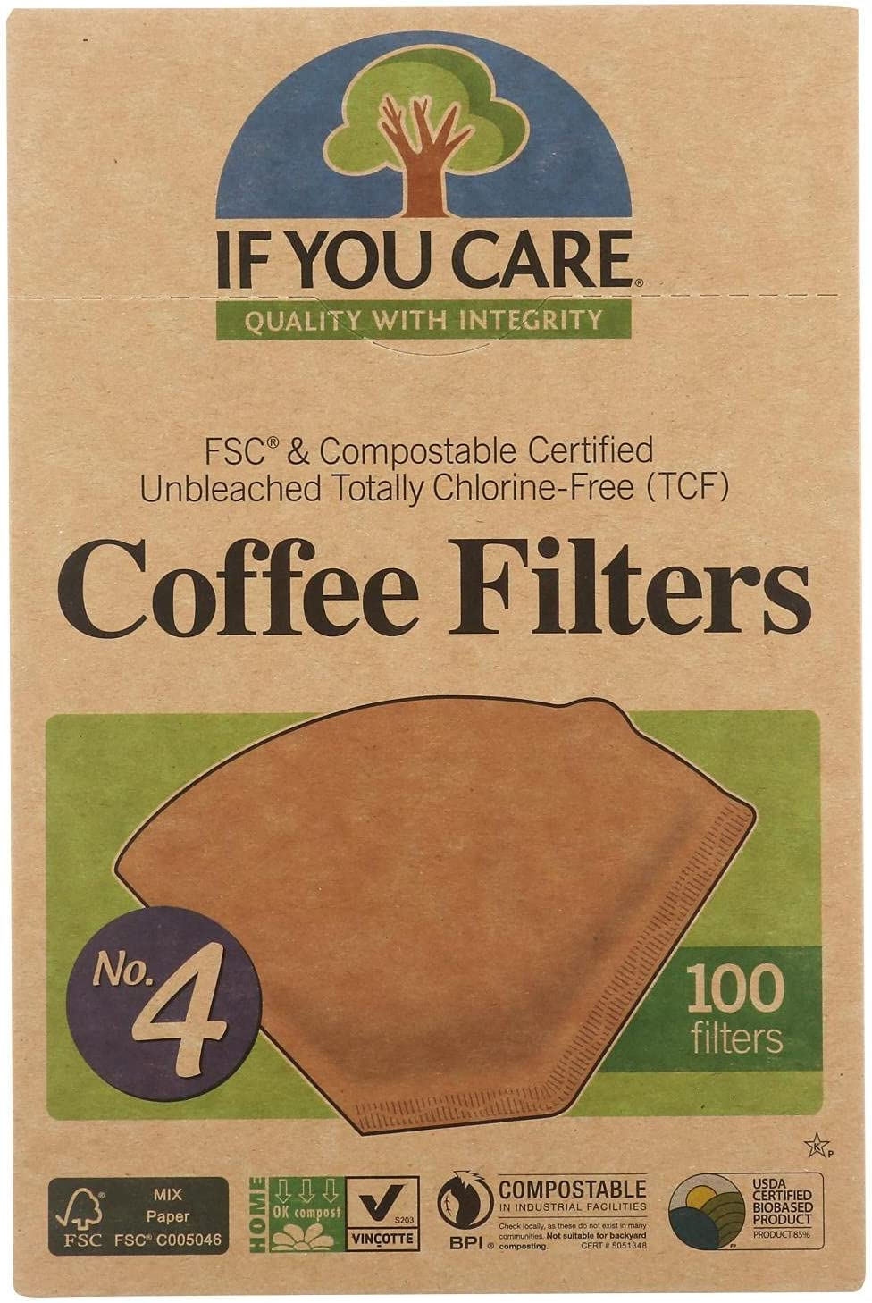 If You Care 100-Count No. 4 Coffee Filters 12-Pack Cone Ranking TOP8 Brown Japan Maker New