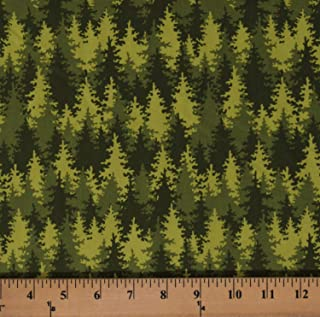 Cotton Pine Trees Evergreens Forest Nature Into The Woods Patrick Lose Let's Go Camping Green Cotton Fabric Print by The Yard (D388.24)