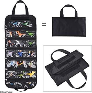 ECO-FUSED Fold Out Toy Organizer Storage Bag - Compatible with Small Toy Figures, Cars, Accessories and Collectibles, Such as: Paw Patrol Mini, Hatchimals, Lego, Smurfs, Hot Wheels, etc.
