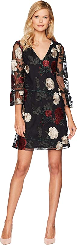 V-Neck Ruffle Sleeve Embroidered Mesh A-Line Dress