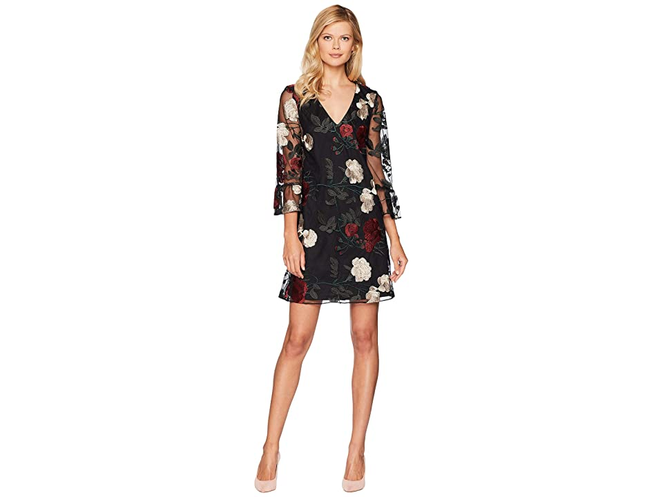 eci V-Neck Ruffle Sleeve Embroidered Mesh A-Line Dress (Black/Multi) Women