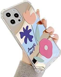 Carcasa trasera de espejo para iPhone 12/12Pro, bonita funda floral para niñas y mujeres, transparente de cuatro esquinas ...