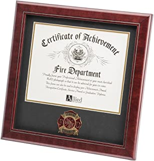 Allied Frame US Firefighter Certificate of Achievement Picture Frame with Medallion - 8 x 10 Inch Opening