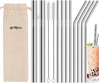 grilljoy 13pcs pajitas reutilizables de metal para beber - pajitas de acero inoxidable de 8.5 pulgadas - compatibles con vasos de 20 oz Yeti bebida fría