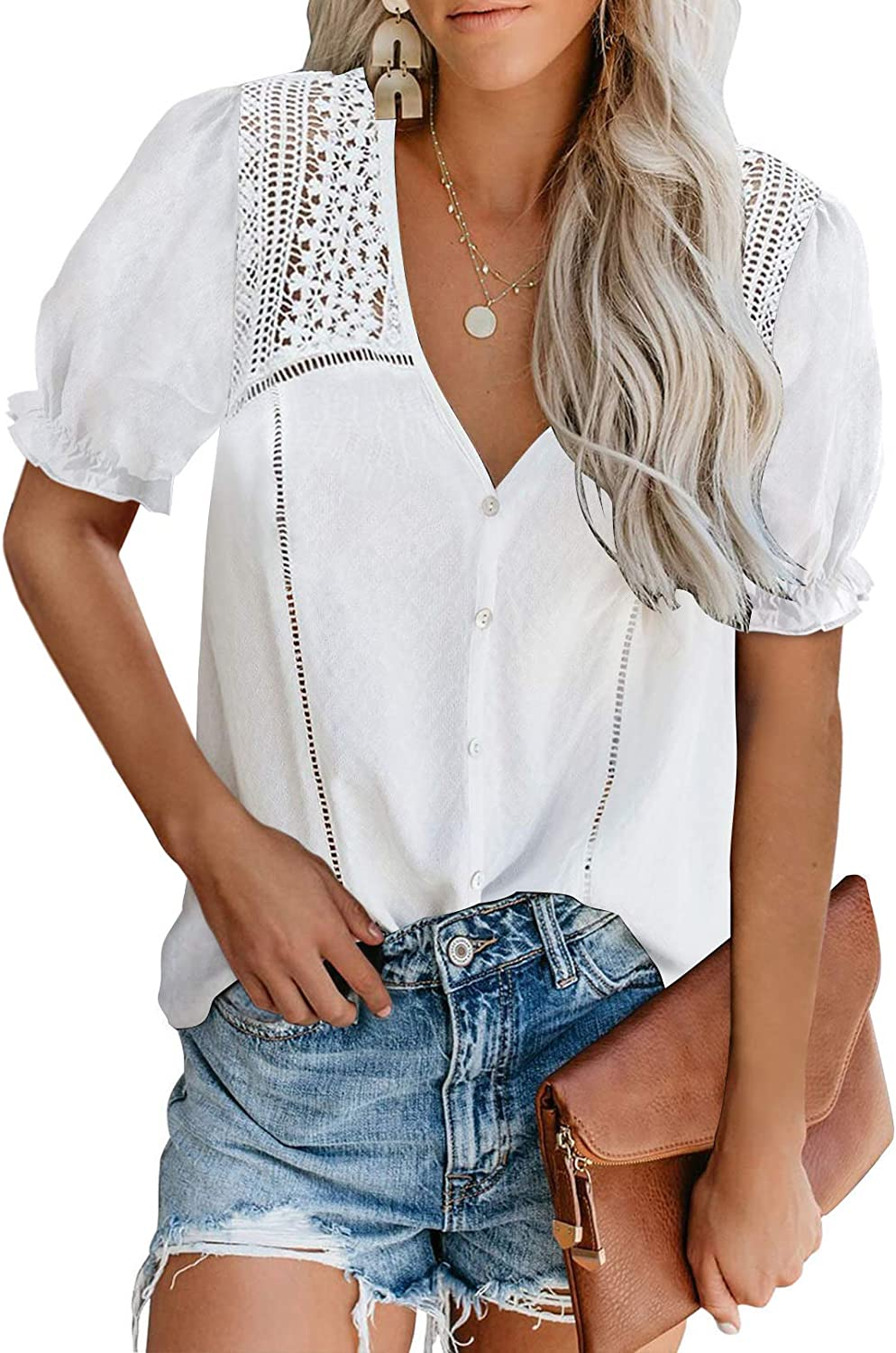 HOTAPEI Women's Sexy Floral Tee Top Loose Short Sleeve Blouse Lace Hollow High Neck Fafhion Shirts