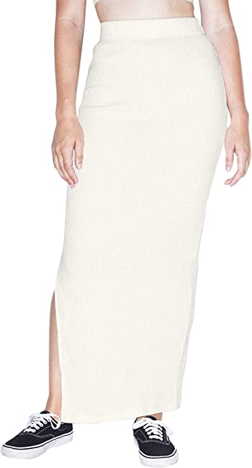 American Apparel Women's Thick Rib Maxi Skirt