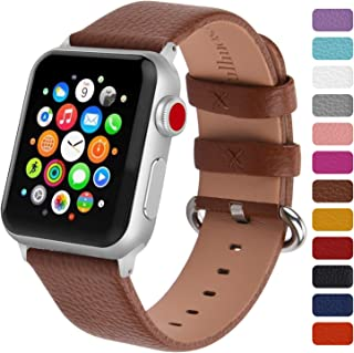 Fullmosa Leather Watch Band Compatible for Apple Watch Band Leather Series 5/4/3/2/1 Stainless Steel Silver Buckle Women Men 38mm 40mm 42mm 44mm, Replacement Wristbands Strap, Edition, Sport Straps