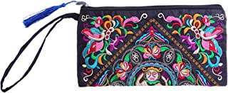 OULII Women's Handbag Handmade Chinese Style Retro Embroidered Purse Phone Wallet With Strap or Women (Satin Butterfly Pat...