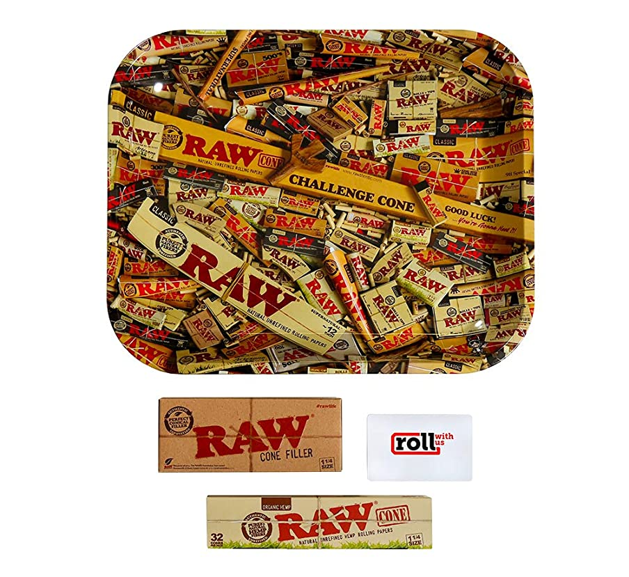 RAW Organic Unrefined Pre-Rolled Cone 32 Pack (1 1/4 Size) Starter Kit: Includes 32 Cones, RAW Loader, Raw Rolling Papers Tray and Roll with Us Scoop Card (Large Tray)