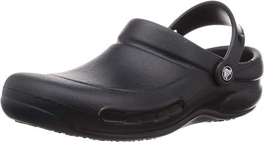 Crocs Men's and Women's Bistro Clog   Slip Resistant Work Shoe, Black, 9 Women / 7 Men